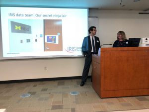 Data Team members Rob and Amy presenting